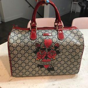 Gucci Tattoo Hearts & Roses Boston Bowler Handbag